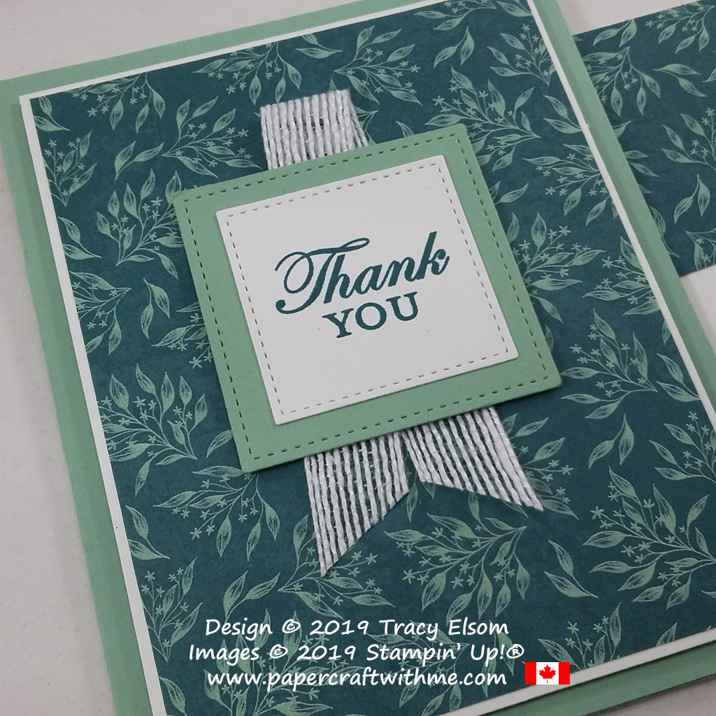 Close up of pretty thank you card created using the Magnolia Blooms Stamp Set and Come To Gather patterned paper from Stampin' Up! #papercraftwithme
