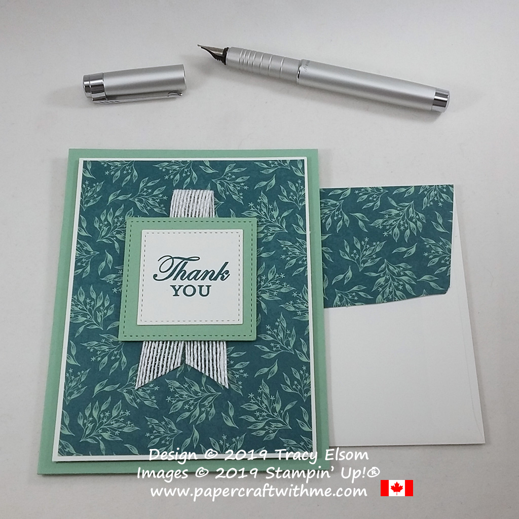 Pretty thank you card created using the Magnolia Blooms Stamp Set and Come To Gather patterned paper from Stampin' Up! #papercraftwithme