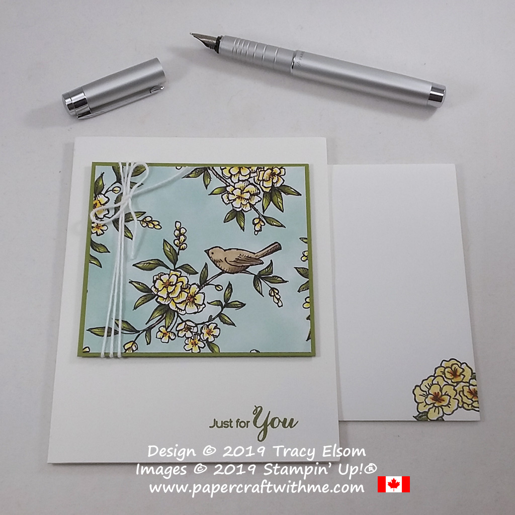"""Simple """"just for you"""" card created using the Vibrant Vases Stamp Set and Bird Ballad patterned paper from Stampin' Up! #papercraftwithme"""