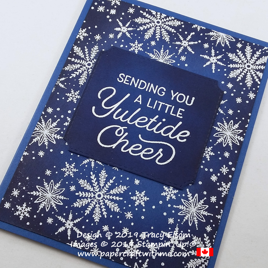 Close up of snowflake Christmas card with yuletide cheer sentiment created using the Frosted Foliage Stamp Set and coordinating Frosted Frames Dies from Stampin' Up! #papercraftwithme