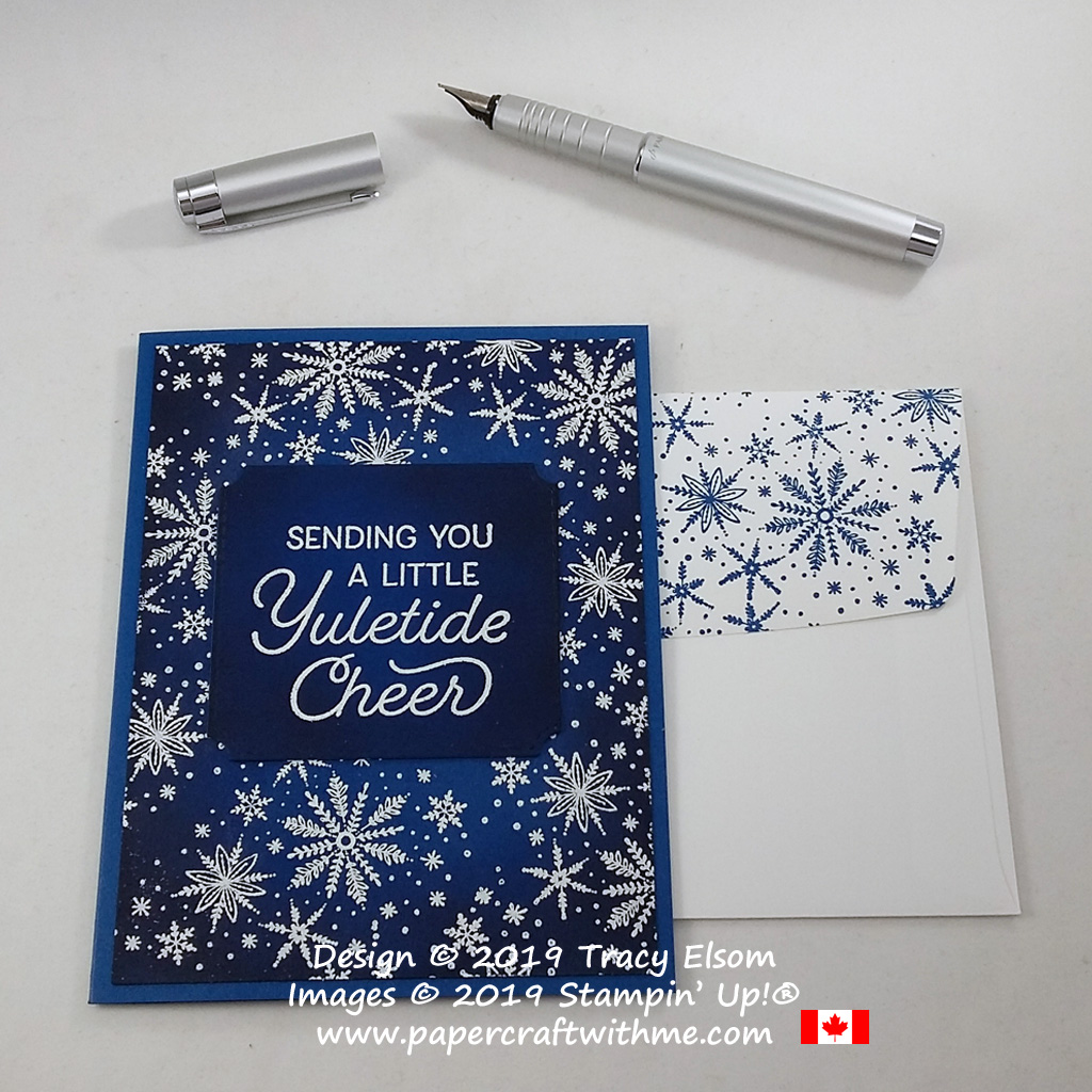 Snowflake Christmas card with yuletide cheer sentiment created using the Frosted Foliage Stamp Set and coordinating Frosted Frames Dies from Stampin' Up! #papercraftwithme