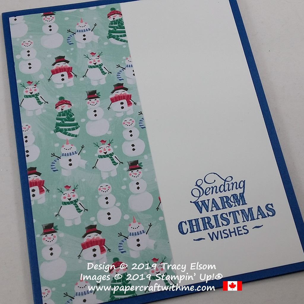 Close up of #simplestamping Christmas card with snowmen images created using the Rustic Retreat Stamp Set and Let It Snow Specialty DSP from Stampin' Up! #papercraftwithme