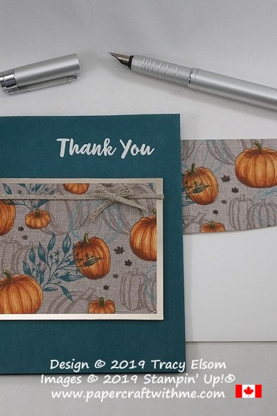Thank you card created using the Abstract Impressions Stamp Set and pumpkin patterned paper from the Come To Gather DSP coloured using Stampin' Blends alcohol markers from Stampin' Up! #papercraftwithme.