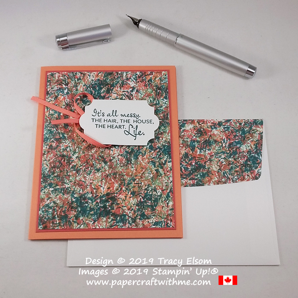 """Card with four colour Saran Wrap stamped abstract background and """"It's all messy"""" sentiment from the Here's a Card Stamp Set from Stampin' Up! #papercraftwithme"""