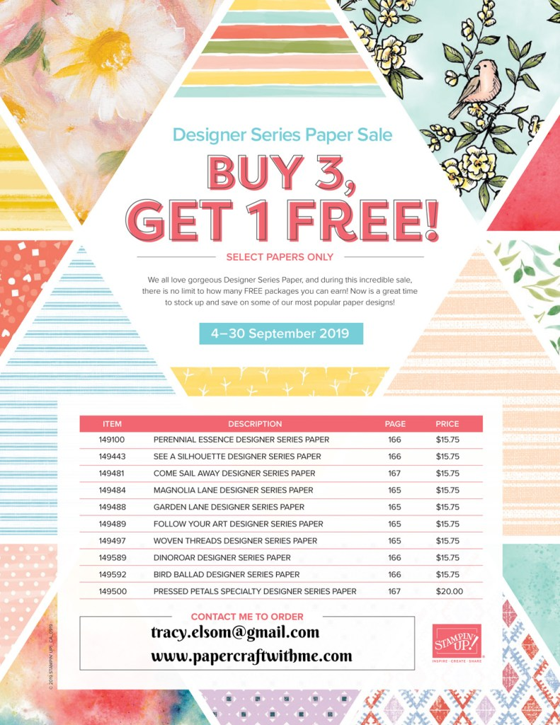 "Buy any 3 packs from a selection of Stampin' Up! 12"" x 12"" patterned paper packs and get 1 free (September 4 to 30, 2019)"