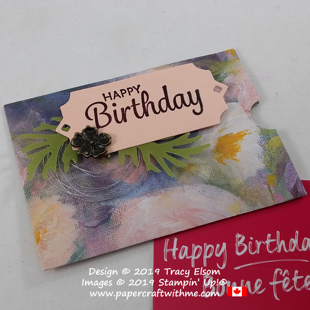 Close up of fancy floral birthday gift card holder created using the Perennial Essence patterned paper and other products from the Stampin' Up! 2019 Annual Catalogue. #papercraftwithme