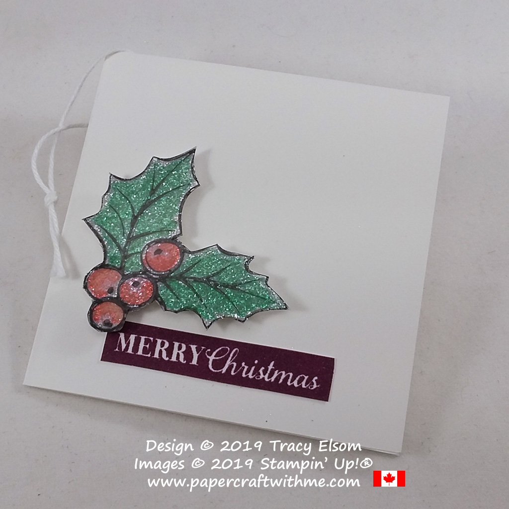 "3"" x 3"" holly gift tag created using the Christmas Gleaming Stamp Set from Stampin' Up! #papercraftwithme"