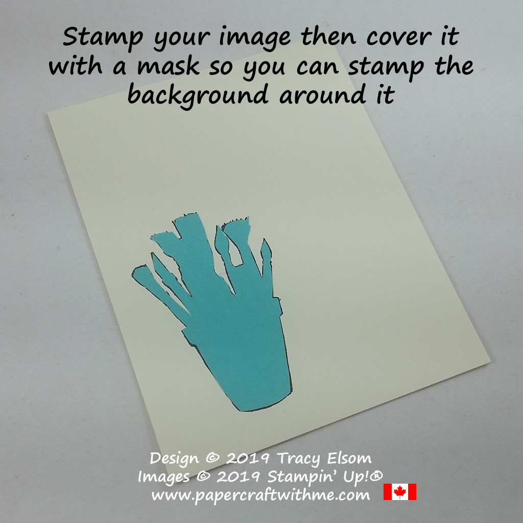Cover an image with a mask so you can stamp a background around it. #papercraftwithme