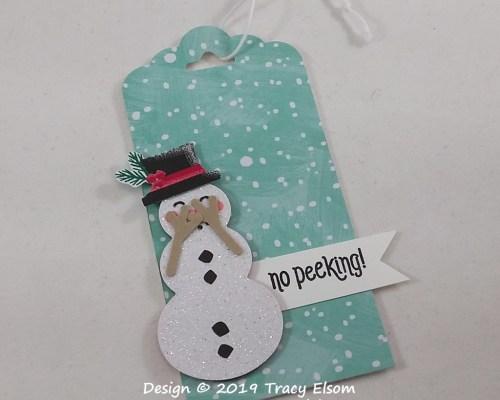 Peeking Snowman Tag
