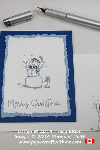 Happy snowman on a Christmas card with torn layers, created using the Snowman Season Stamp Set from Stampin' Up! #papercraftwithme