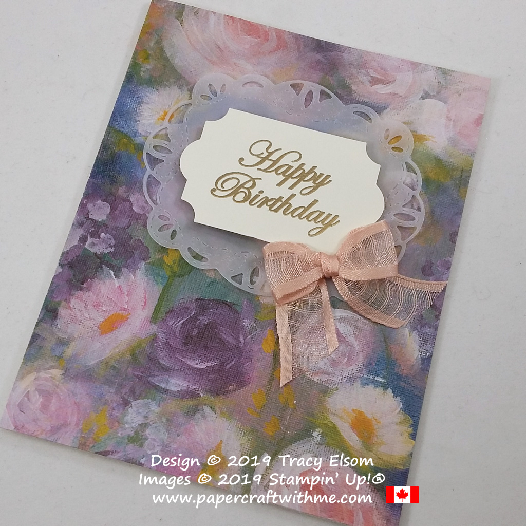 "Close up of floral card created using Monet inspired Perennial Essence paper and ""Happy Birthday"" sentiment from the Magnolia Blooms Stamp Set from Stampin' Up! #papercraftwithme"