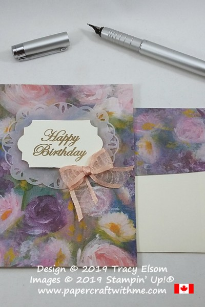 """Floral card created using Monet inspired Perennial Essence paper and """"Happy Birthday"""" sentiment from the Magnolia Blooms Stamp Set from Stampin' Up! #papercraftwithme"""