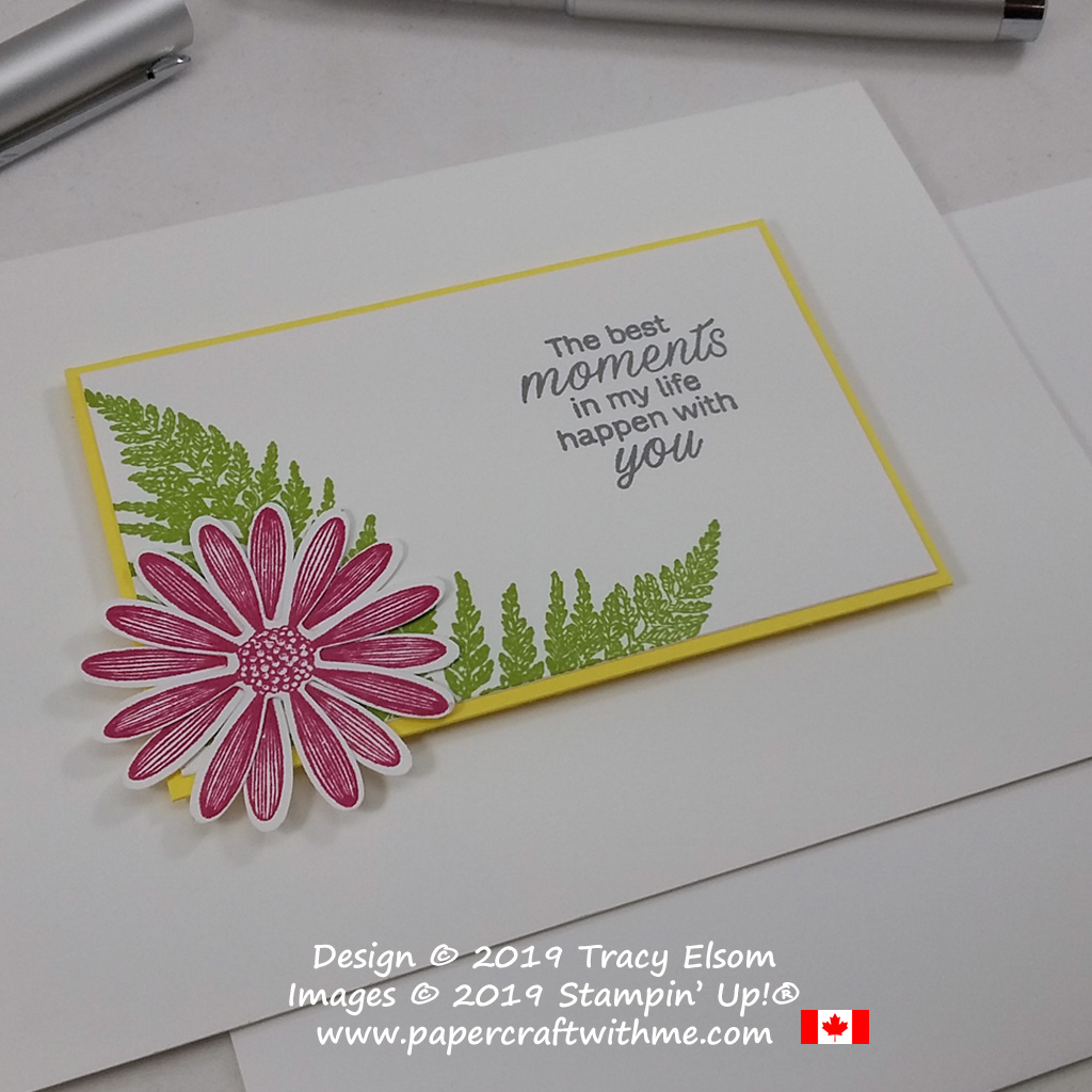 """Bright and cheerful card with """"The best moments in my life happen with you"""" sentiment and images from the Daisy Lane Stamp Set from Stampin' Up! #papercraftwithme"""