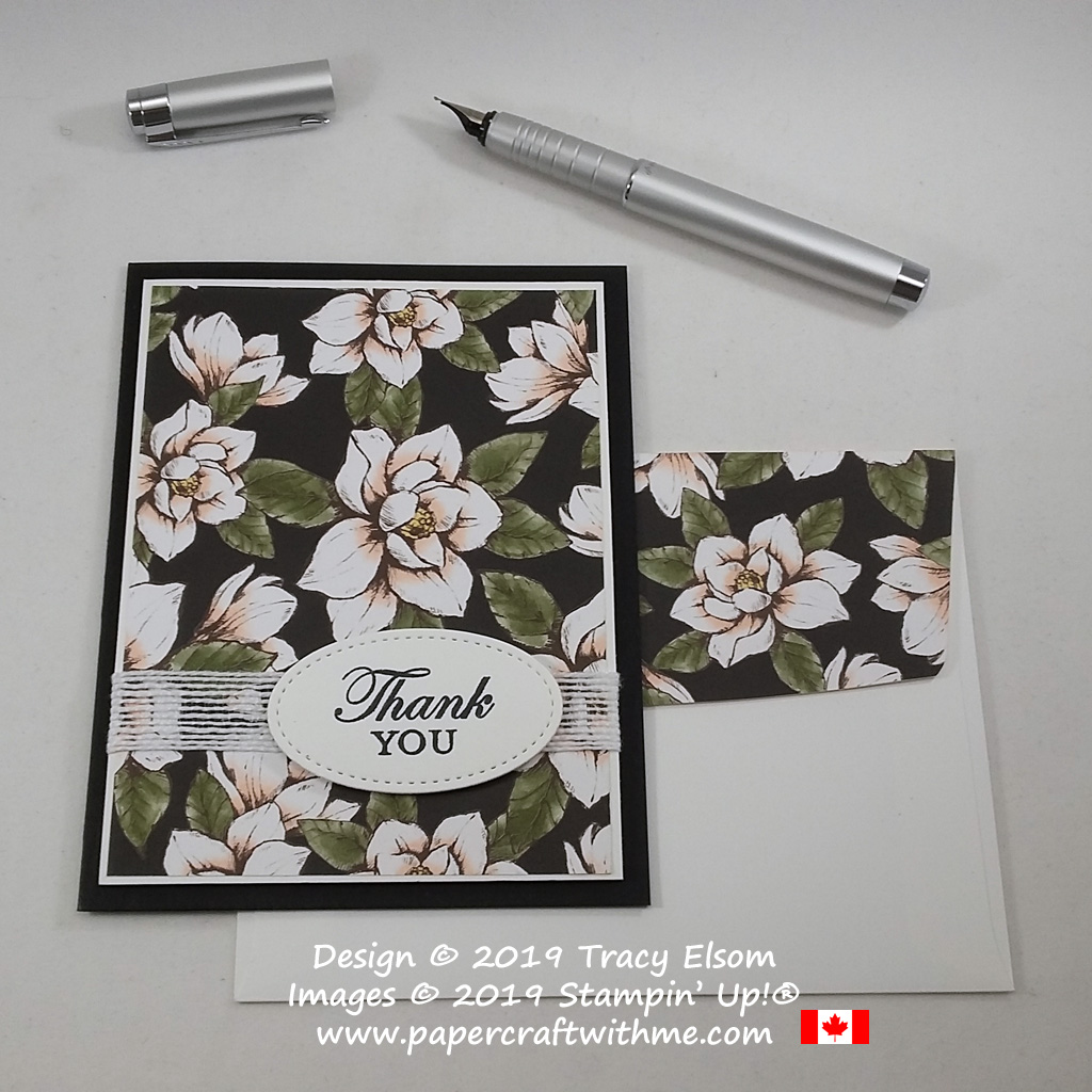 Thank you card with striking black background created using the Magnolia Blooms Stamp Set and Magnolia Lane patterned paper from Stampin' Up! #papercraftwithme