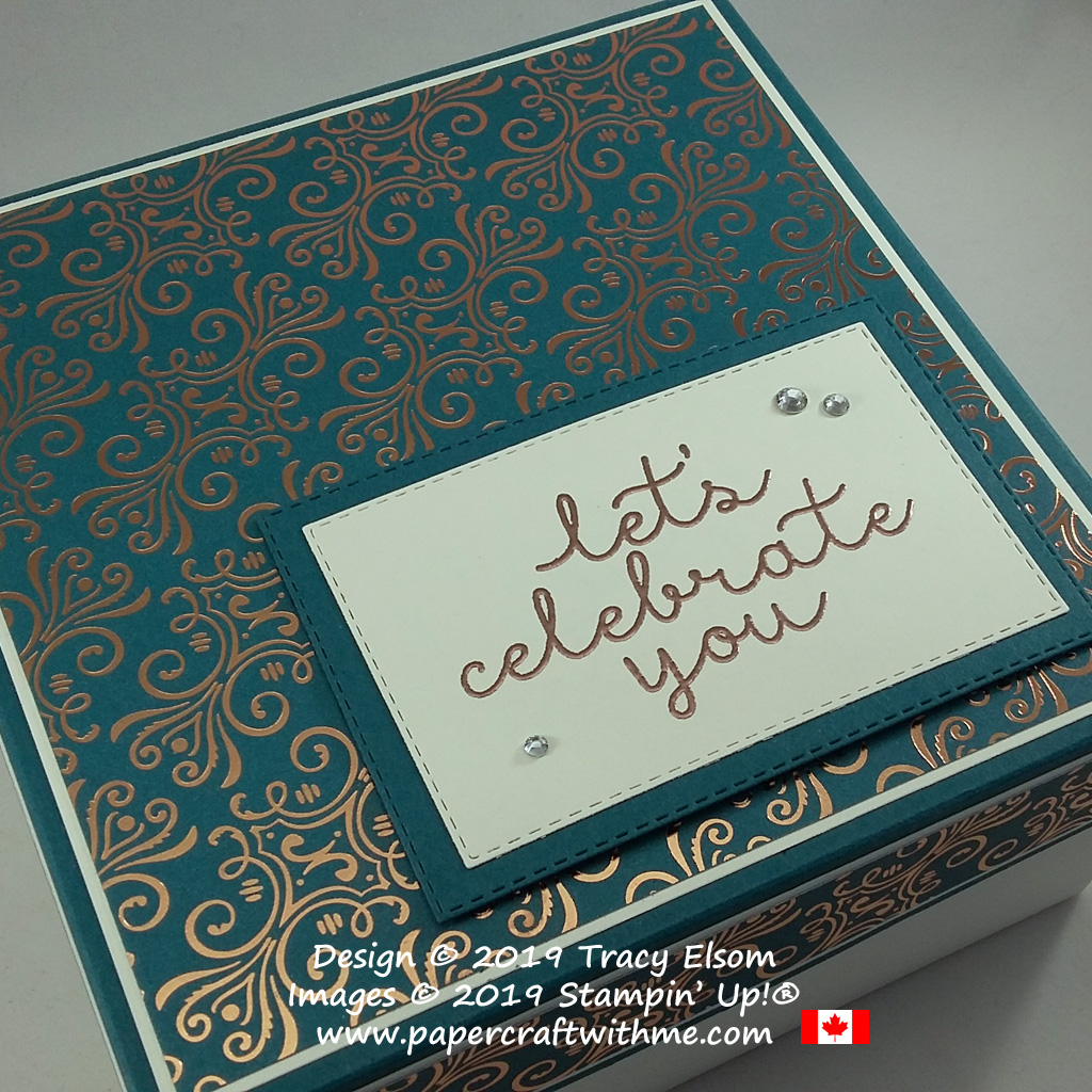 "6""x6""x3"" simple box with ""lets celebrate you"" sentiment from the Bloom & Grow Stamp Set from Stampin' Up! #papercraftwithme"