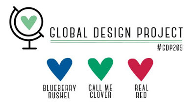Logo for the Global Design Project colour challenge GDP209 - Blueberry Bushel, Call Me Clover and Real Red (Sep 30 - Oct 7, 2019)