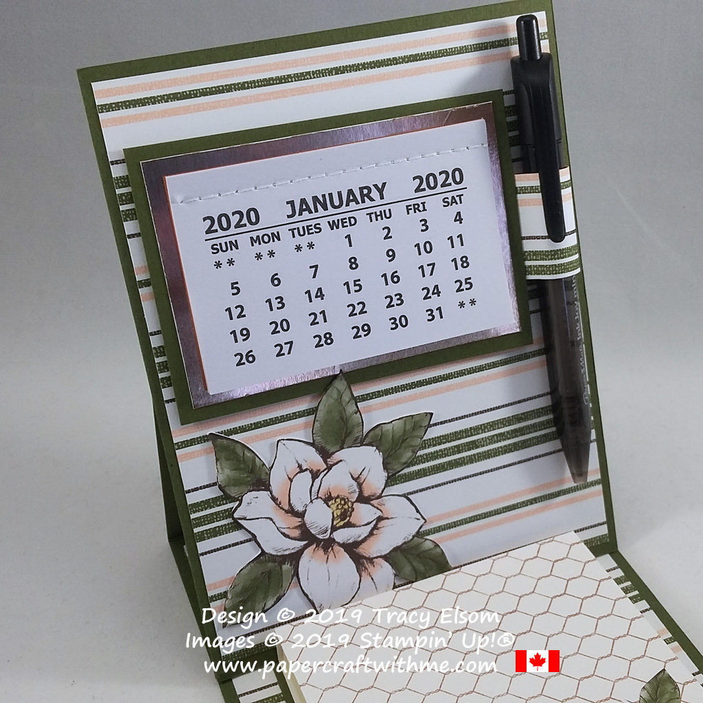 Close up of calendar and pen on easel calendar and sticky note holder updated for 2020 using products from the Magnolia Lane suite from Stampin' Up! #papercraftwithme