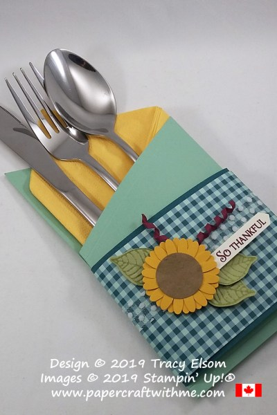 Pretty silverware / napkin pouch with sunflower embellishment created for my Thanksgiving table using products from Stampin' Up! #papercraftwithme