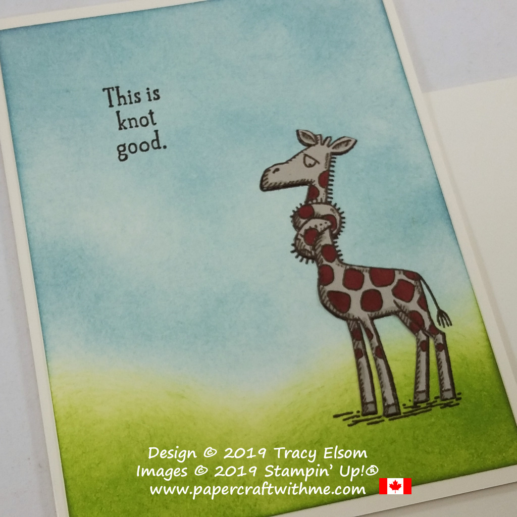"Card with ""This is knot good"" sentiment and giraffe image created using the Back On Your Feet Stamp Set from Stampin' Up! #papercraftwithme"