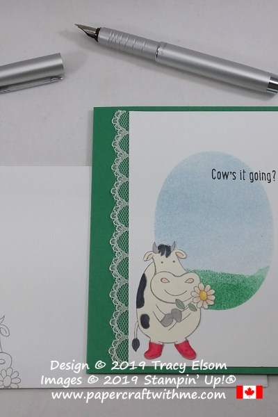 "Cute card featuring a cow and summer scene and ""Cow's it going?"" sentiment, created using the Over The Moon Stamp Set from Stampin' Up! #papercraftwithme"