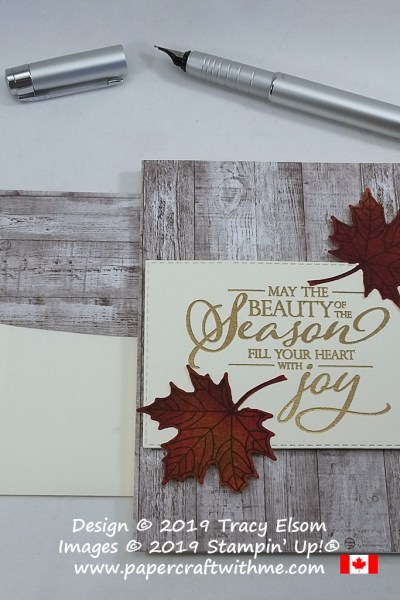 "Autumn leaves with a wood effect background on this ""Beauty of the season"" card created using the Merry Christmas To All Stamp Set from Stampin' Up! #papercraftwithme"