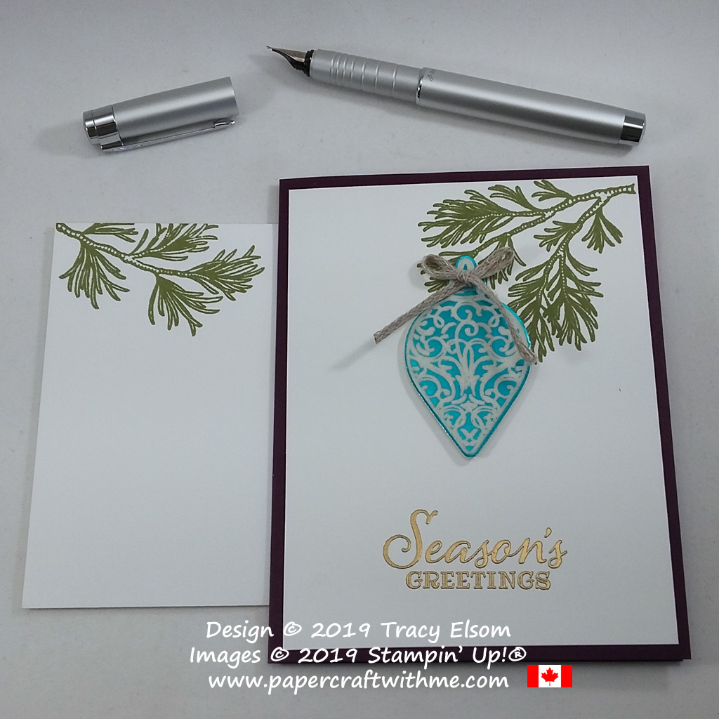 "Kicking off the Online Extravaganza promotion with this ""Seasons greetings"" card featuring a faux enamel ornament created using the Peaceful Boughs and Christmas Gleaming Stamp Sets and Gleaming Ornaments Punch from Stampin' Up! #papercraftwithme"