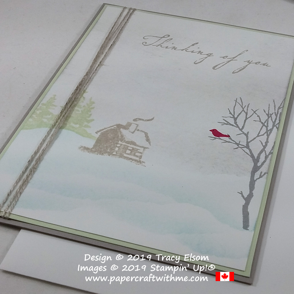"Quiet snow scene card with ""Thinking of You"" sentiment created using the Snowfront and Woven Heirlooms Stamp Set from Stampin' Up! #papercraftwithme"