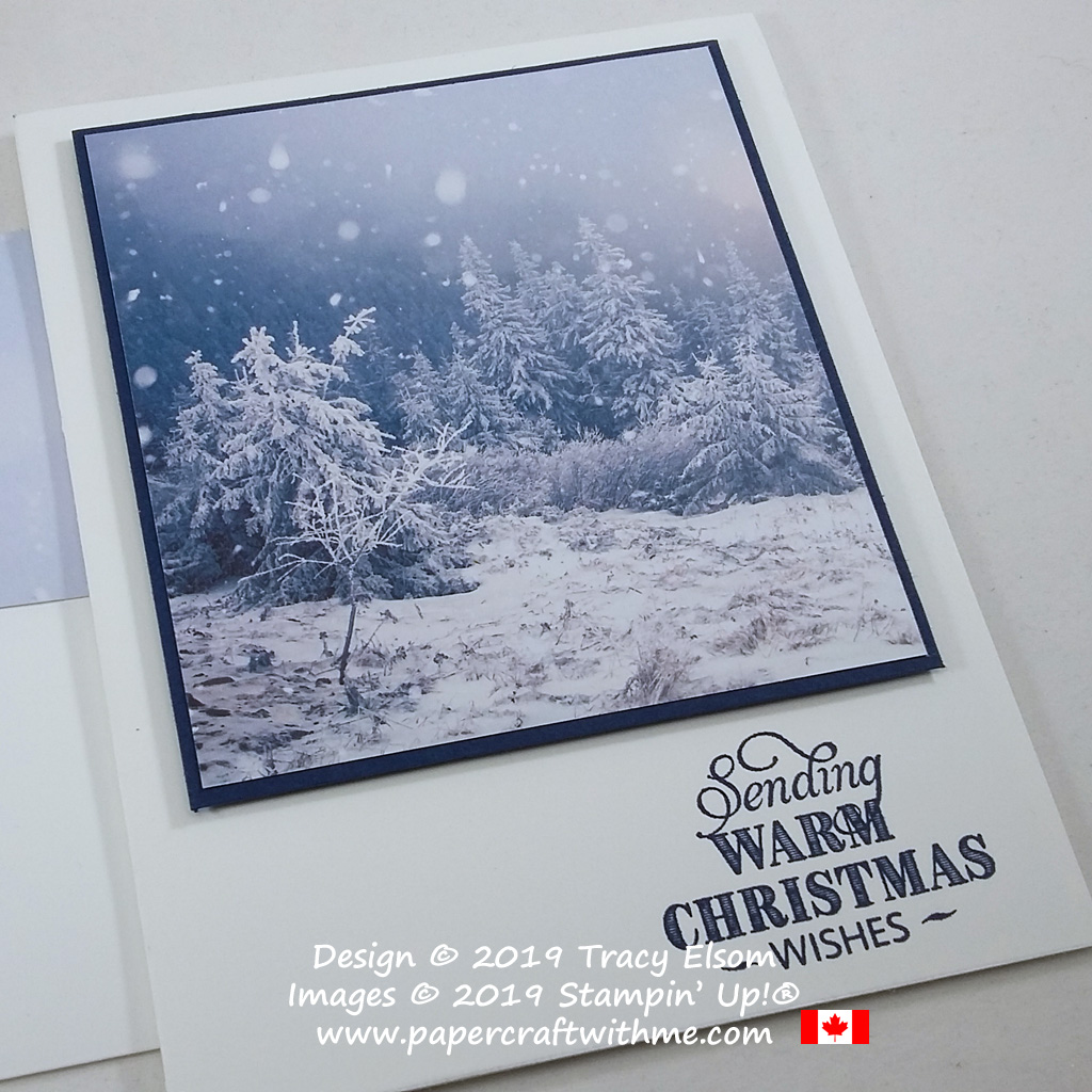 """Simple card """"sending warm Christmas wishes"""" created using the Feels Like Frost DSP and Rustic Retreat Stamp Set from Stampin' Up! #simplestamping #papercraftwithme"""