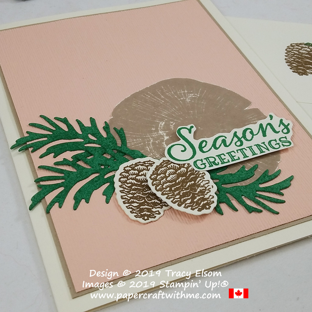 """Seasons Greetings"" card in modern Christmas colours created using the Peaceful Boughs Stamp Set and coordinating Beautiful Boughs Dies from Stampin' Up! #papercraftwithme"
