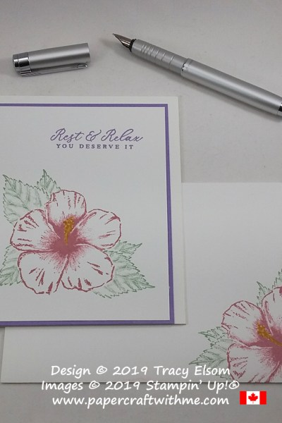 "Simple card with hibiscus flower and ""rest & relax you deserve it"" sentiment created using the Timeless Tropical Stamp Set from Stampin' Up! #papercraftwithme"