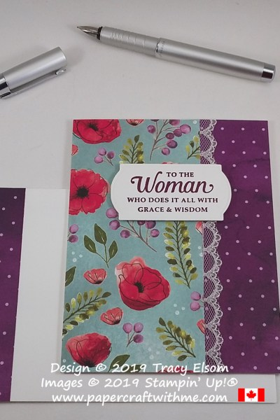 "Colourful card with ""To the woman who does it all with grace & wisdom"" sentiment from the Strong & Beautiful Stamp Set, with patterned paper from the Peaceful Poppies DSP pack, all from Stampin' Up! #papercraftwithme"