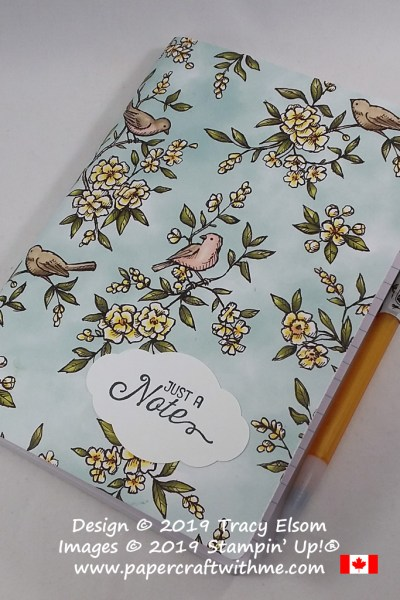A notebook for the gardener or bird lover decorated using the Bird Ballad patterned paper and Flourishing Phrases Stamp Set from Stampin' Up! #papercraftwithme