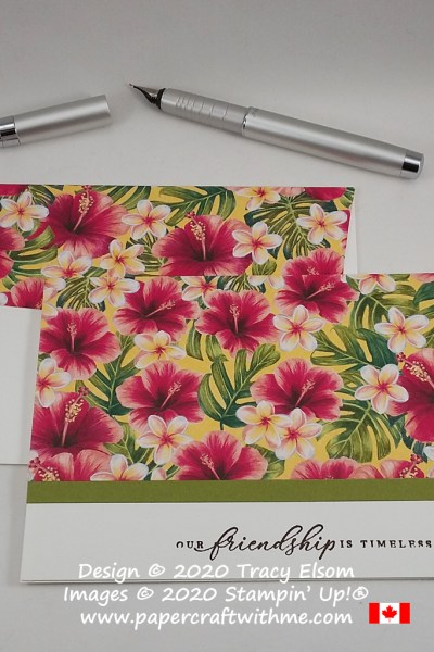 #simplestamping card with bright hibiscus flowers, created using the Tropical Oasis patterned paper and Timeless Tropical Stamp Set from Stampin' Up! #papercraftwithme