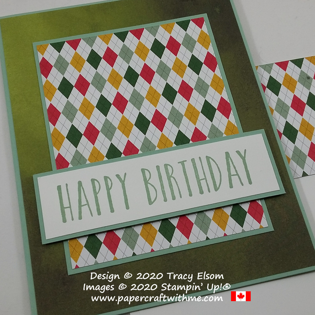 Simple birthday card with bright argyle / harlequin background created using the Perennial Birthday Stamp Set and Country Club DSP paper from Stampin' Up! #papercraftwithme