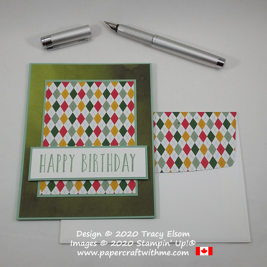 Simple masculine / gender neutral birthday card with bright argyle / harlequin background created using the Perennial Birthday Stamp Set and Country Club DSP paper from Stampin' Up! #papercraftwithme