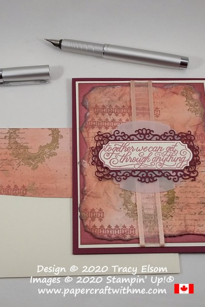 """Vintage style card with """"Together we can get through anything"""" sentiment created using the Very Versailles and Perfectly Framed Stamp Sets from Stampin' Up! #papercraftwithme"""
