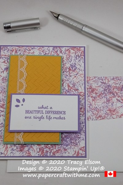 """Beautiful difference"" card created using the Timeless Tulips Stamp Set and colour combination inspired by the January 2019 Paper Pumpkin kit. #papercraftwithme"