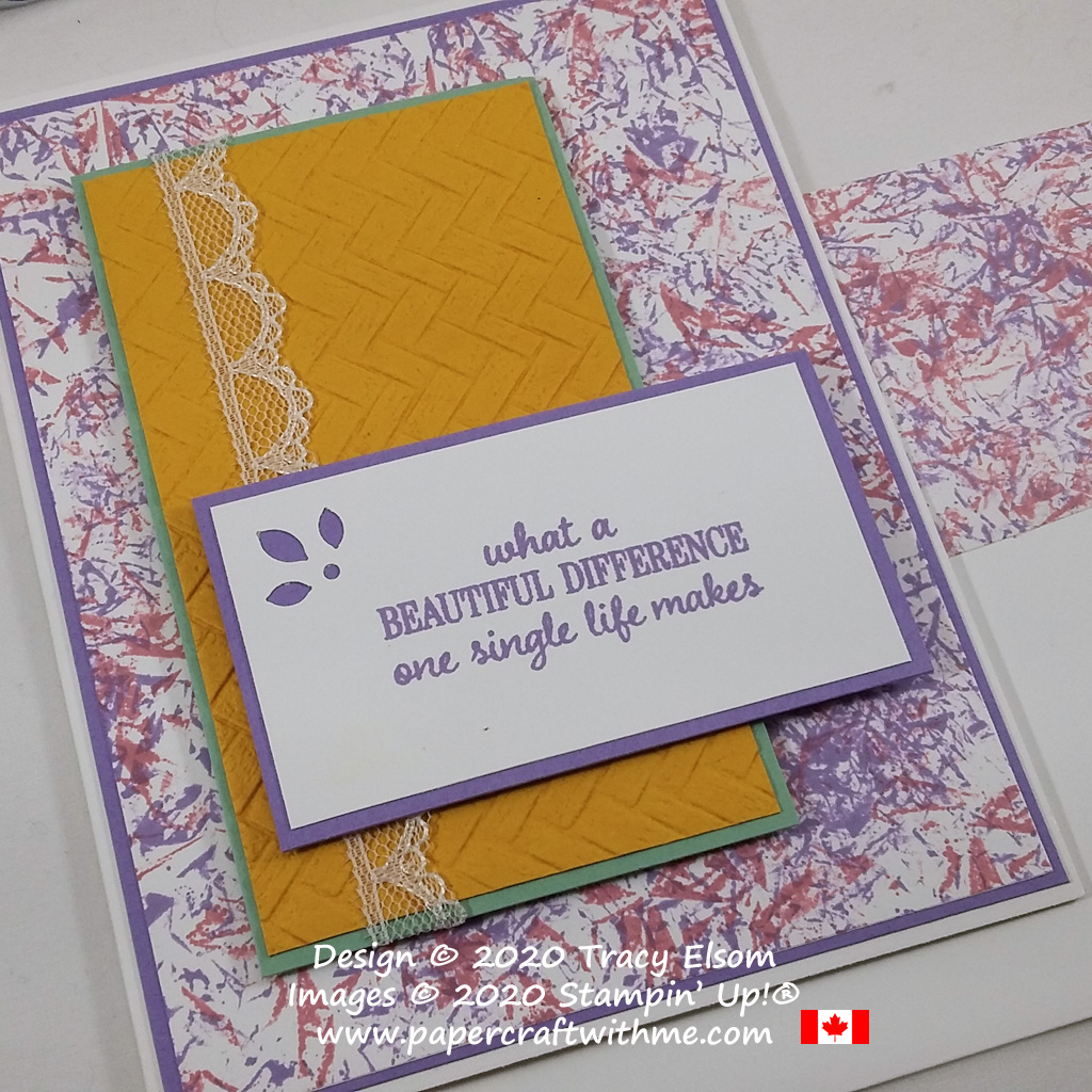 """""""Beautiful difference"""" card created using the Timeless Tulips Stamp Set and colour combination inspired by the January 2019 Paper Pumpkin kit. #papercraftwithme"""