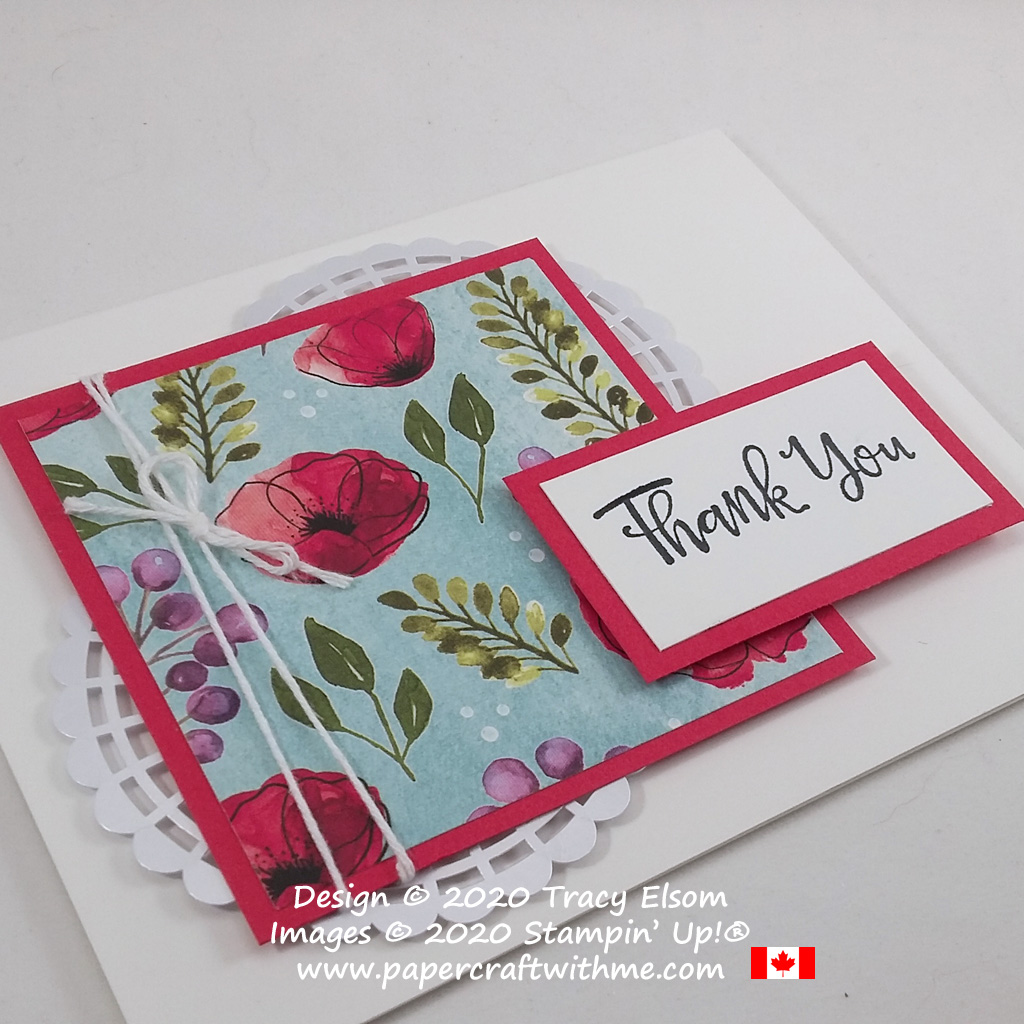 Layered thank you card featuring poppies, a pearlised doily and twine. #papercraftwithme