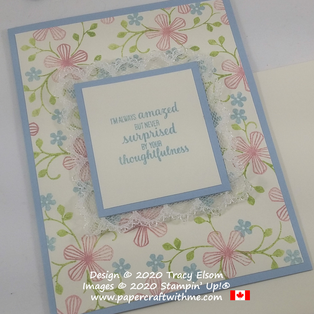 Feels like spring on this thoughtfulness card created using the free Thoughtful Blooms Stamp Set from Stampin' Up! #papercraftwithme