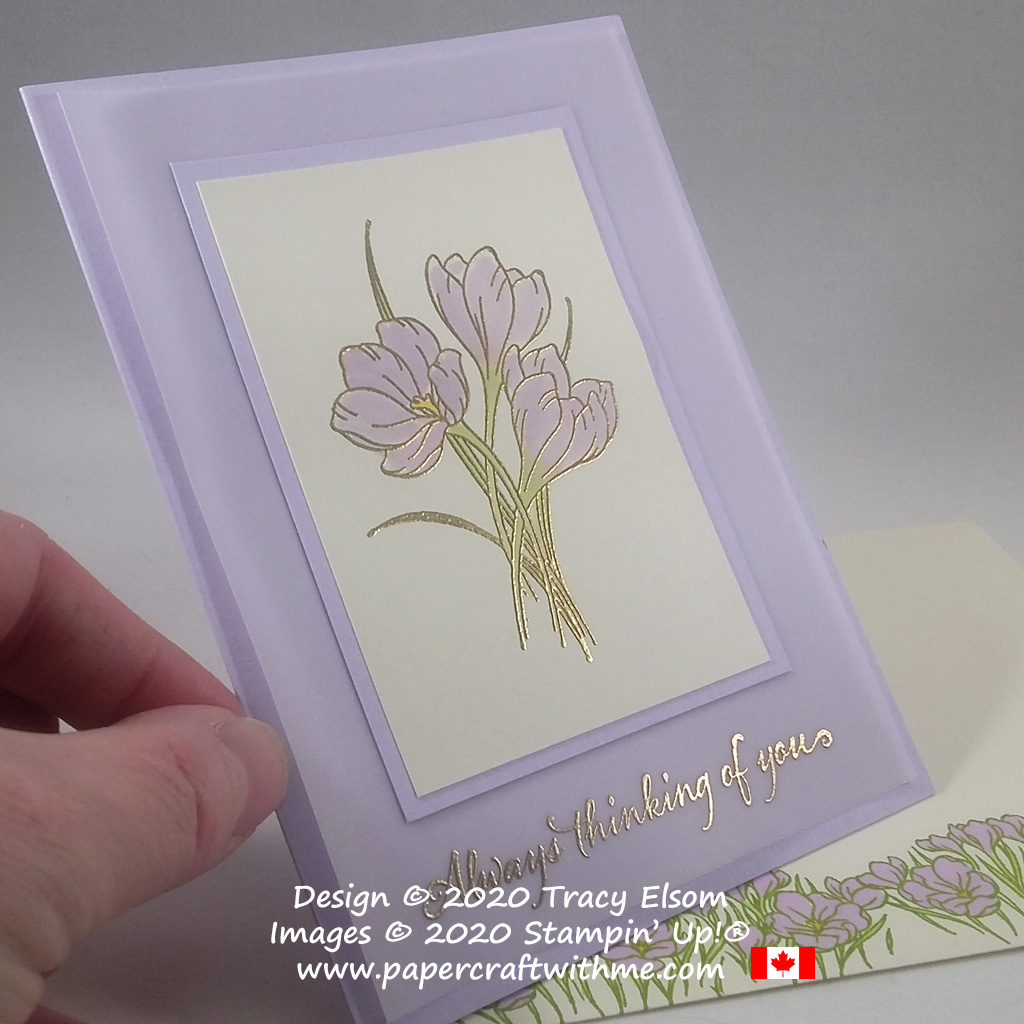 """Thoughts turn to spring with crocus images on this """"thinking of you"""" card created using the Easter Promise and Very Versailles Stamp Sets from Stampin' Up! #papercraftwithme"""