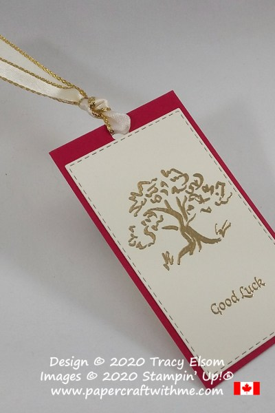 "Chinese New Year inspired gift tag with tree and ""good Luck"" sentiment from the free Power of Hope Stamp set from Stampin' Up! #papercraftwithme"