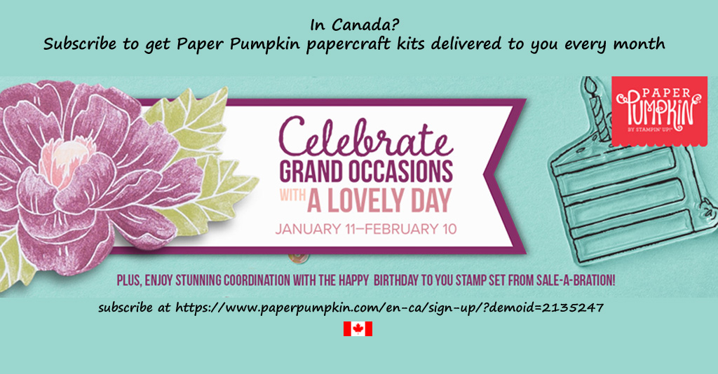 "Subscribe to Paper Pumpkin by February 10th, 2020 to get the February ""Lovely Day"" kit.  Contains everything you need to make 9 full-size cards and envelopes with a birthday theme. #papercraftwithme"
