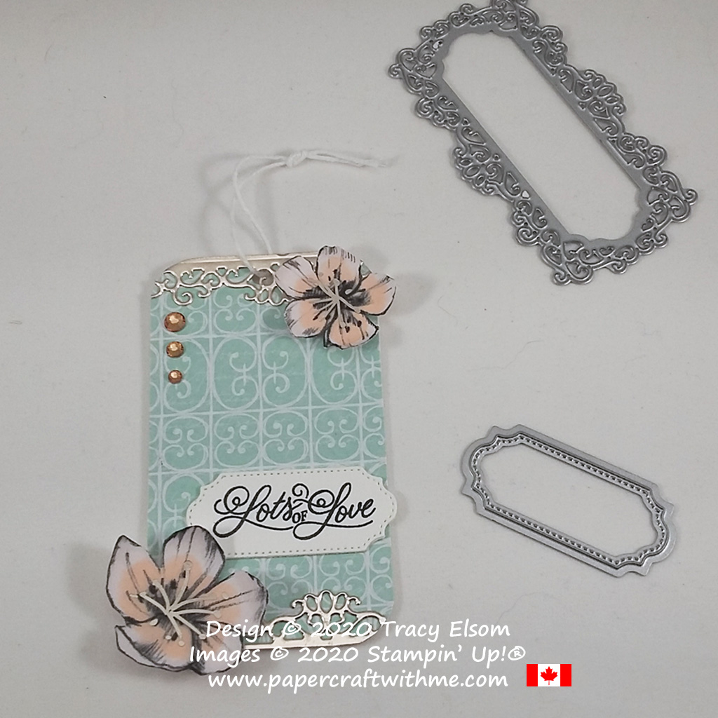 """Show a little romance with this """"Lots of love"""" gift tag created using the Perfectly Framed Stamp Set and Parisian Blossoms paper from Stampin' Up! #papercraftwithme"""