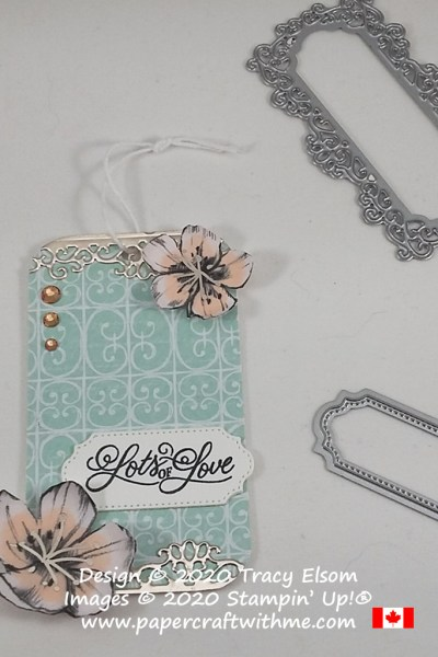 "Show a little romance with this ""Lots of love"" gift tag created using the Perfectly Framed Stamp Set and Parisian Blossoms paper from Stampin' Up! #papercraftwithme"