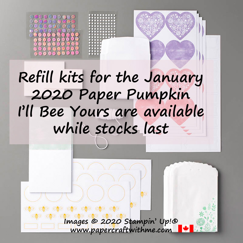 Refill kits for the January 2020 Paper Pumpkin I'll Bee Yours are available while stocks last. #papercraftwithme