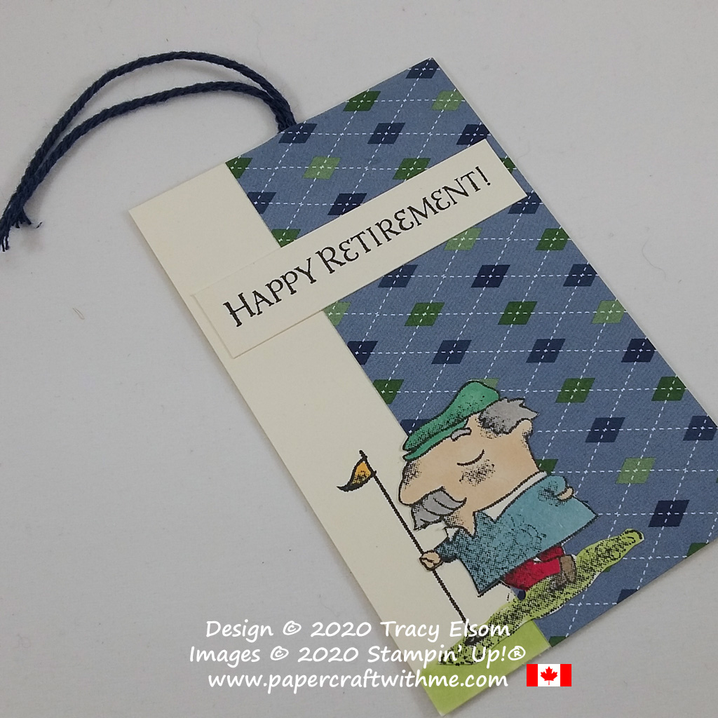 """Happy retirement"" gift tag created using a catalogue collaboration of the Country Club DSP and On To Adventure Stamp Set from Stampin' Up! #papercraftwithme"