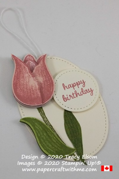 Multilayered birthday gift tag created using the Timeless Tulips Stamp Set and coordinating Tulip Builder Punch from Stampin' Up!. #papercraftwithme