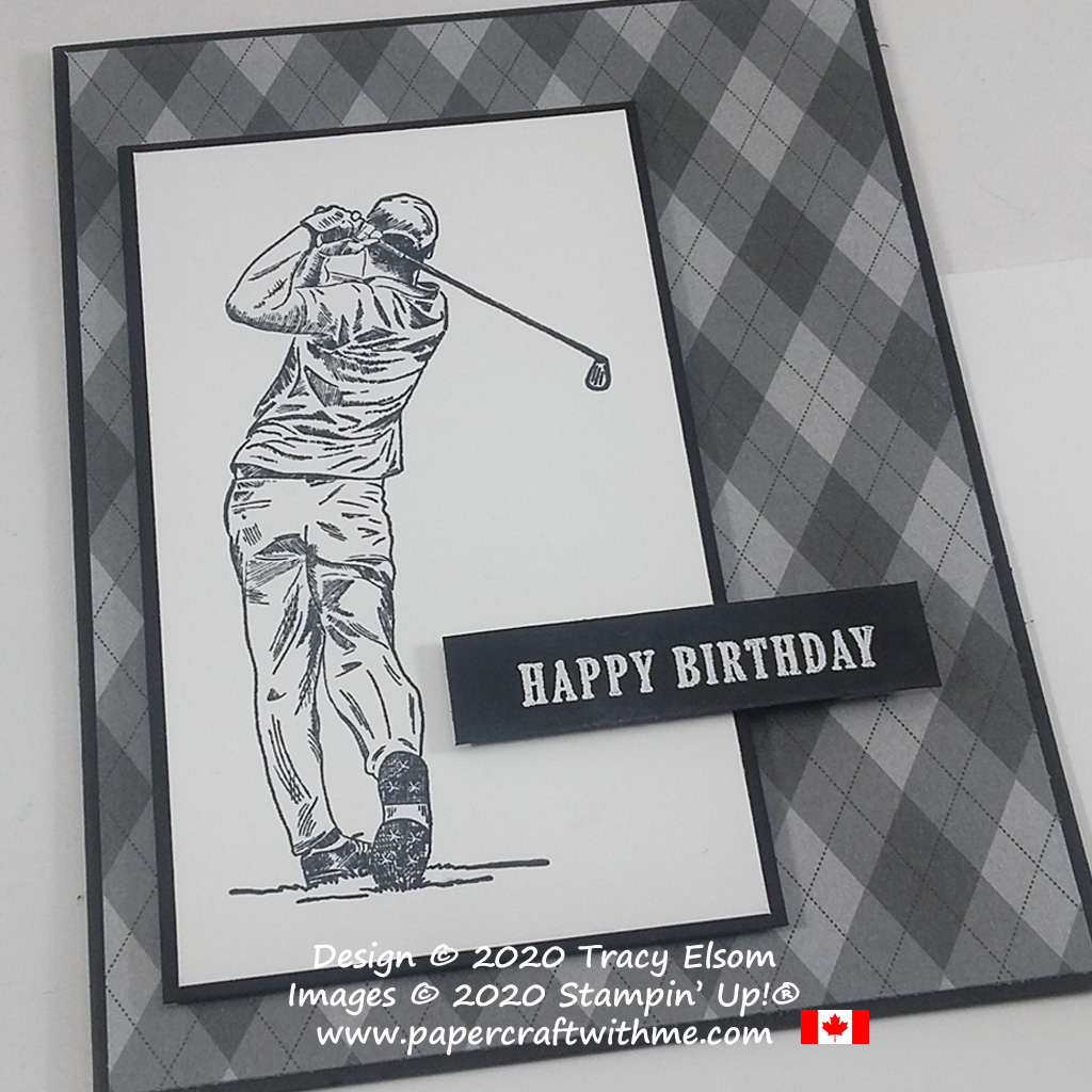 Simple birthday card in black, white and shades of grey with large golfer image and sentiment from the Clubhouse Stamp Set by Stampin' Up! #papercraftwithme