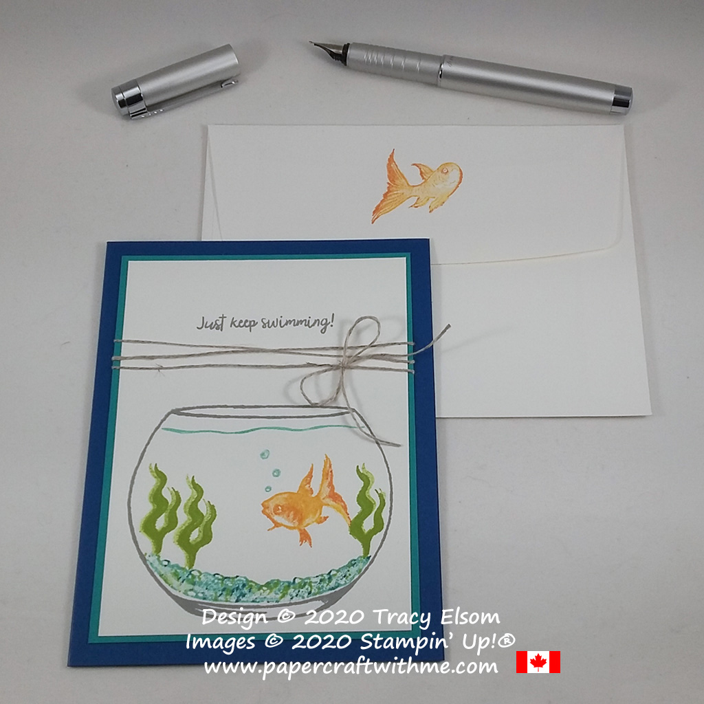 Just keep swimming with this simple fish bowl card design created using the Make A Splash (Host) Stamp Set from Stampin' Up! #papercraftwithme